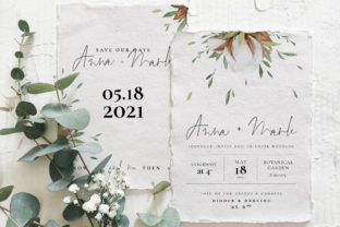Cotton Greenery Wedding Suite Graphic By Klapaucius Co