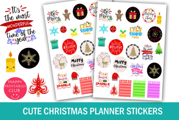 Print on Demand: Cute Christmas Planner Stickers Graphic Crafts By Happy Printables Club