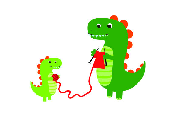 Dinosaur Knitting Red Shirt with Baby Dinosaur Holding the Yarn Dinosaurs Craft Cut File By Creative Fabrica Crafts