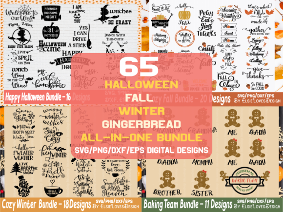 Halloween,Fall,Winter,Gingerbread Bundle Graphic Crafts By ElsieLovesDesign