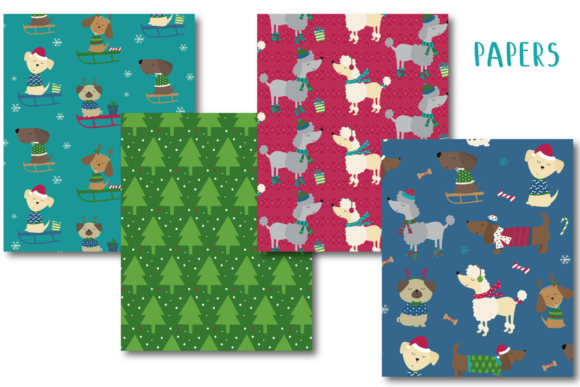 Holiday Doggies Paper Graphic By poppymoondesign Image 2