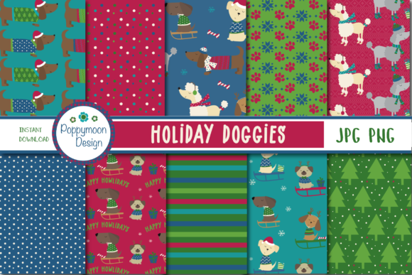 Print on Demand: Holiday Doggies Paper Graphic Patterns By poppymoondesign
