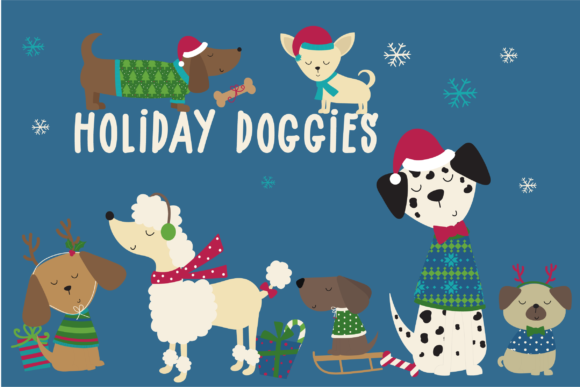 Print on Demand: Holiday Doggies Graphic Illustrations By poppymoondesign