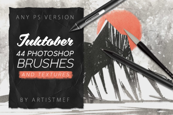 Print on Demand: Inktober 2019 Photoshop Brushes Graphic Brushes By ArtistMef