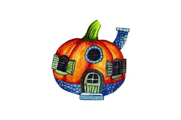 Download Free Pumpkin House Watercolor Svg Cut File By Creative Fabrica for Cricut Explore, Silhouette and other cutting machines.