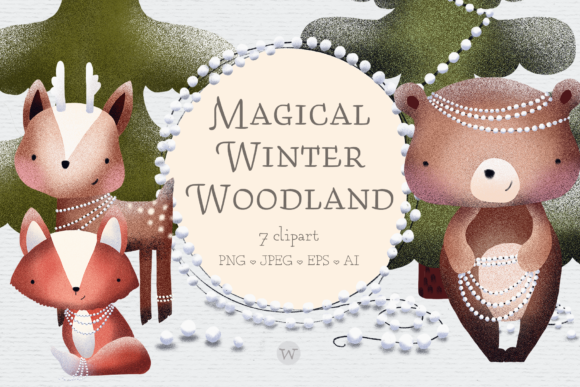 Print on Demand: Scandinavian Woodland Animal Clipart Graphic Illustrations By Wallifyer