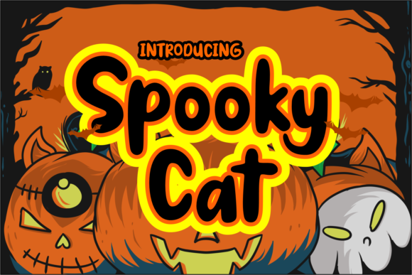 Print on Demand: Spooky Cat Display Font By Dreamink (7ntypes)