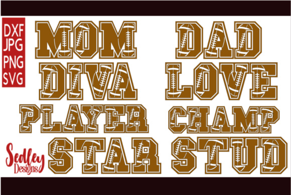 Download Free Sports Letters Football Bundle Graphic By Sedley Designs for Cricut Explore, Silhouette and other cutting machines.