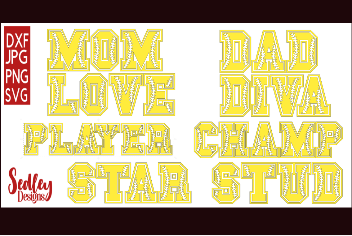 Download Free Sports Letters Softball Bundle Graphic By Sedley Designs for Cricut Explore, Silhouette and other cutting machines.