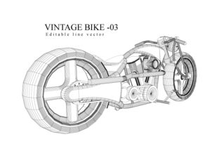 Vintage Motorcycle Line Drawing Graphic By Thirty Eight Studio