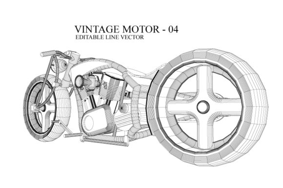 Print on Demand: Vintage Motorcycle Line Drawing Graphic Illustrations By Cititype - Image 1