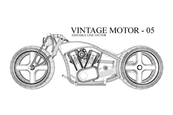 Print on Demand: Vintage Motorcycle Line Drawing Gráfico Ilustraciones Por Cititype