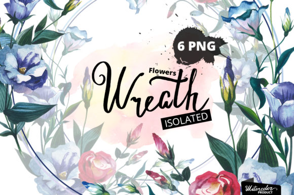 Print on Demand: Watercolor Flower Wreath PNG Set Graphic Illustrations By MyStocks