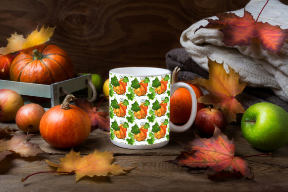 Print on Demand: White Coffee Mug Mockup with Fall Leaves Graphic Product Mockups By TasiPas - Image 2