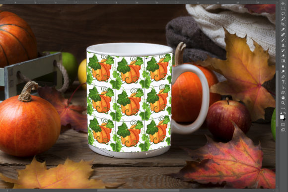 Print on Demand: White Coffee Mug Mockup with Fall Leaves Graphic Product Mockups By TasiPas - Image 3