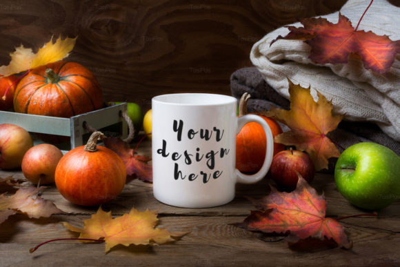 Print on Demand: White Coffee Mug Mockup with Fall Leaves Graphic Product Mockups By TasiPas - Image 4