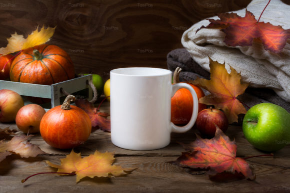 Print on Demand: White Coffee Mug Mockup with Fall Leaves Graphic Product Mockups By TasiPas - Image 5