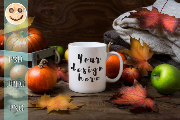 Print on Demand: White Coffee Mug Mockup with Fall Leaves Graphic Product Mockups By TasiPas