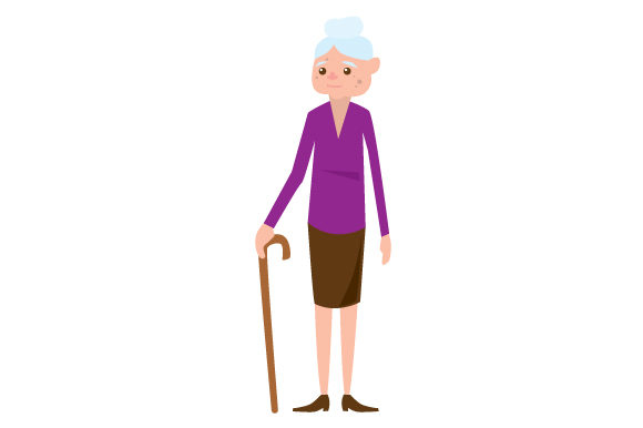 White Elderly Woman Svg Cut File By Creative Fabrica Crafts