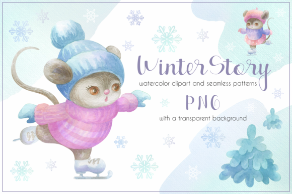 Print on Demand: Winter Story. Cute Little Mice. Watercol Graphic Illustrations By Olga Belova