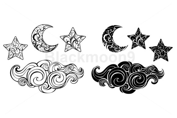 Night Set Graphic Illustrations By Blackmoon9