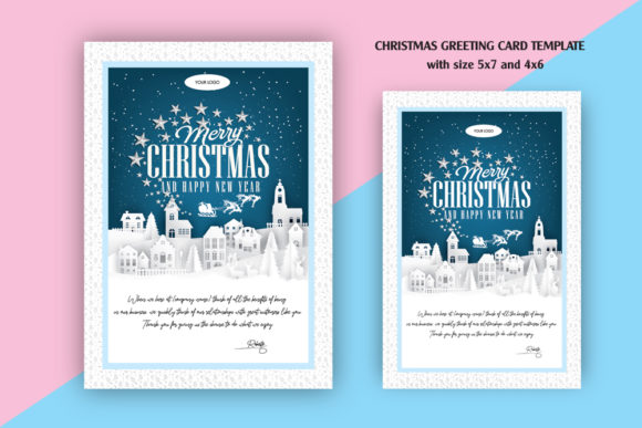 Christmas Greeting Card Graphic Print Templates By Skull and Rose