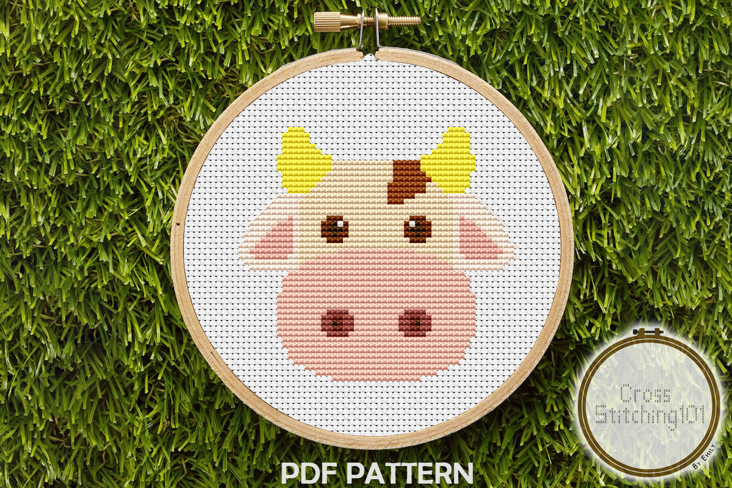 Download Free Brown Blanche Cow Modern Cross Stitch Graphic By for Cricut Explore, Silhouette and other cutting machines.