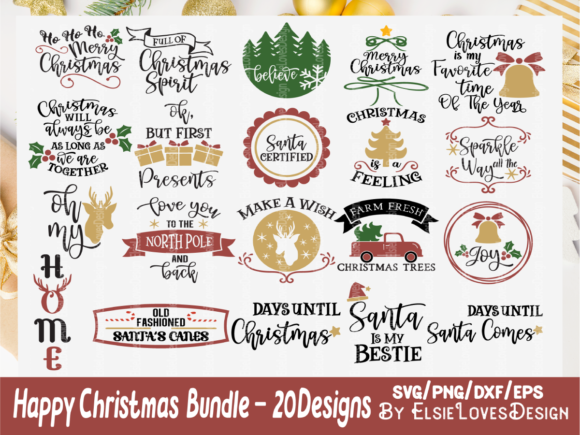 Download Free Holiday Christmas Bundle Graphic By Elsielovesdesign Creative SVG Cut Files