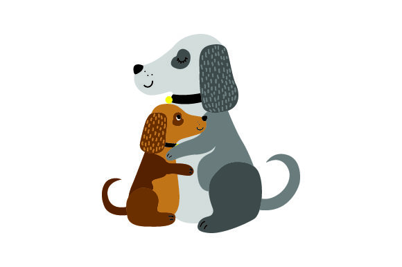 Download Free Dog And Puppy Embracing Svg Cut File By Creative Fabrica Crafts for Cricut Explore, Silhouette and other cutting machines.