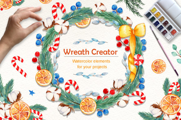 Print on Demand: Wreath Creator Watercolor Clipart Graphic Illustrations By tanatadesign - Image 1