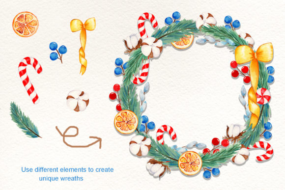 Print on Demand: Wreath Creator Watercolor Clipart Graphic Illustrations By tanatadesign - Image 3