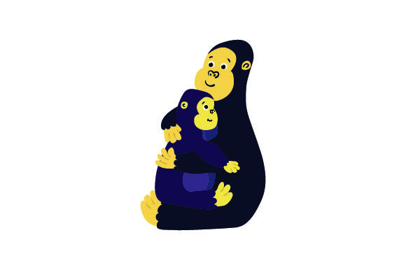 Download Free Gorilla And Baby Gorilla Embracing Svg Cut File By Creative for Cricut Explore, Silhouette and other cutting machines.