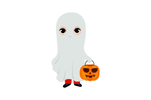 Kid Dressed As Ghost Holding Jack-o'-lantern Basket Halloween Craft Cut File By Creative Fabrica Crafts