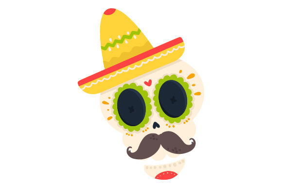 Skull With Sombrero And Moustache Svg Cut File By Creative