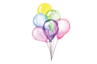 Bundle of Balloons in Watercolor Style Kids Craft Cut File By Creative Fabrica Crafts