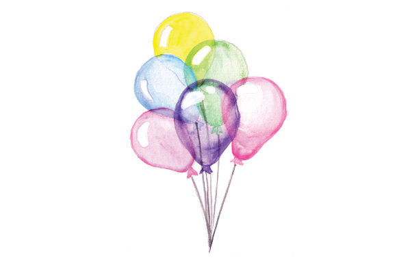 Ballons in Aquarell Kinder Plotterdatei von Creative Fabrica Crafts
