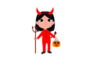 Kid Dressed As Devil Holding Jack-o'-lantern Basket Halloween Craft Cut File By Creative Fabrica Crafts