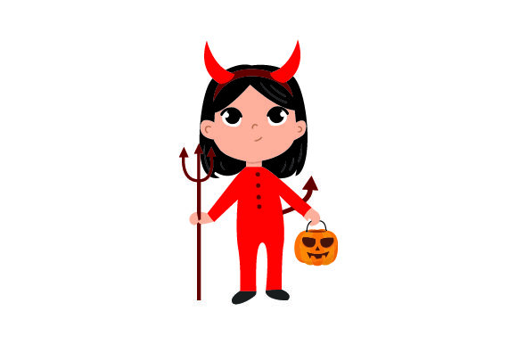 Download Free Kid Dressed As Devil Holding Jack O Lantern Basket Svg Cut File for Cricut Explore, Silhouette and other cutting machines.