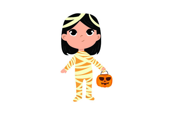 Download Free Kid Dressed As Mummy Holding Jack O Lantern Basket Svg Cut File for Cricut Explore, Silhouette and other cutting machines.