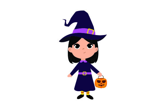 Download Free Kid Dressed As Witch Holding Jack O Lantern Basket Svg Cut File for Cricut Explore, Silhouette and other cutting machines.
