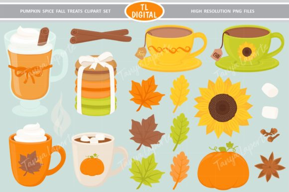 Download Free Pumpkin Spice Fall Treats Clipart Set Graphic By Tl Digital for Cricut Explore, Silhouette and other cutting machines.