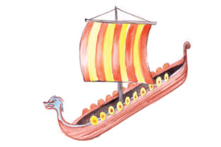 Viking Ship in Watercolor Style Craft Design By Creative Fabrica Crafts