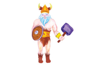 Viking Warrior in Watercolor Style Craft Design By Creative Fabrica Crafts