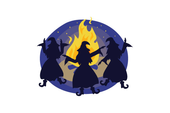 Witches Dancing Around Fire Halloween Craft Cut File By Creative Fabrica Crafts