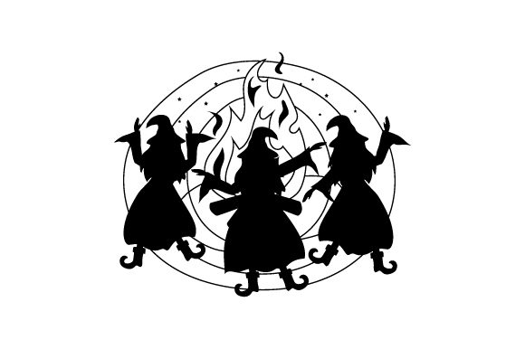 Witches Dancing Around Fire Halloween Craft Cut File By Creative Fabrica Crafts - Image 2