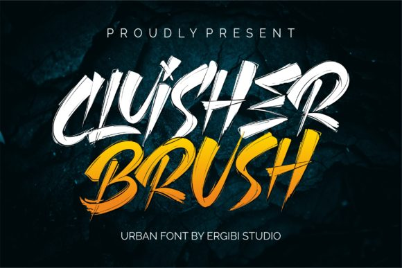 Print on Demand: Cluisher Brush Blackletter Font By ergibi studio