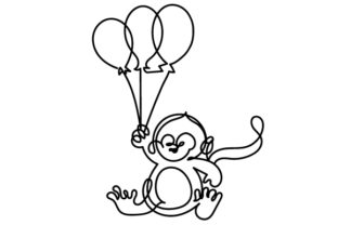 Chimpanzee Holding Balloons in Line Art Style Craft Design By Creative Fabrica Crafts
