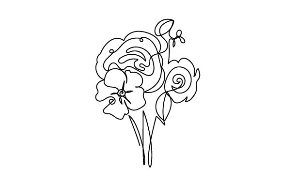 Download Free Flower Bouquet In Line Art Style Svg Cut File By Creative SVG Cut Files
