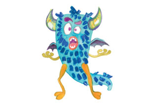 Fuzzy Blue Cartoon Monster in Gouache Style Halloween Craft Cut File By Creative Fabrica Crafts