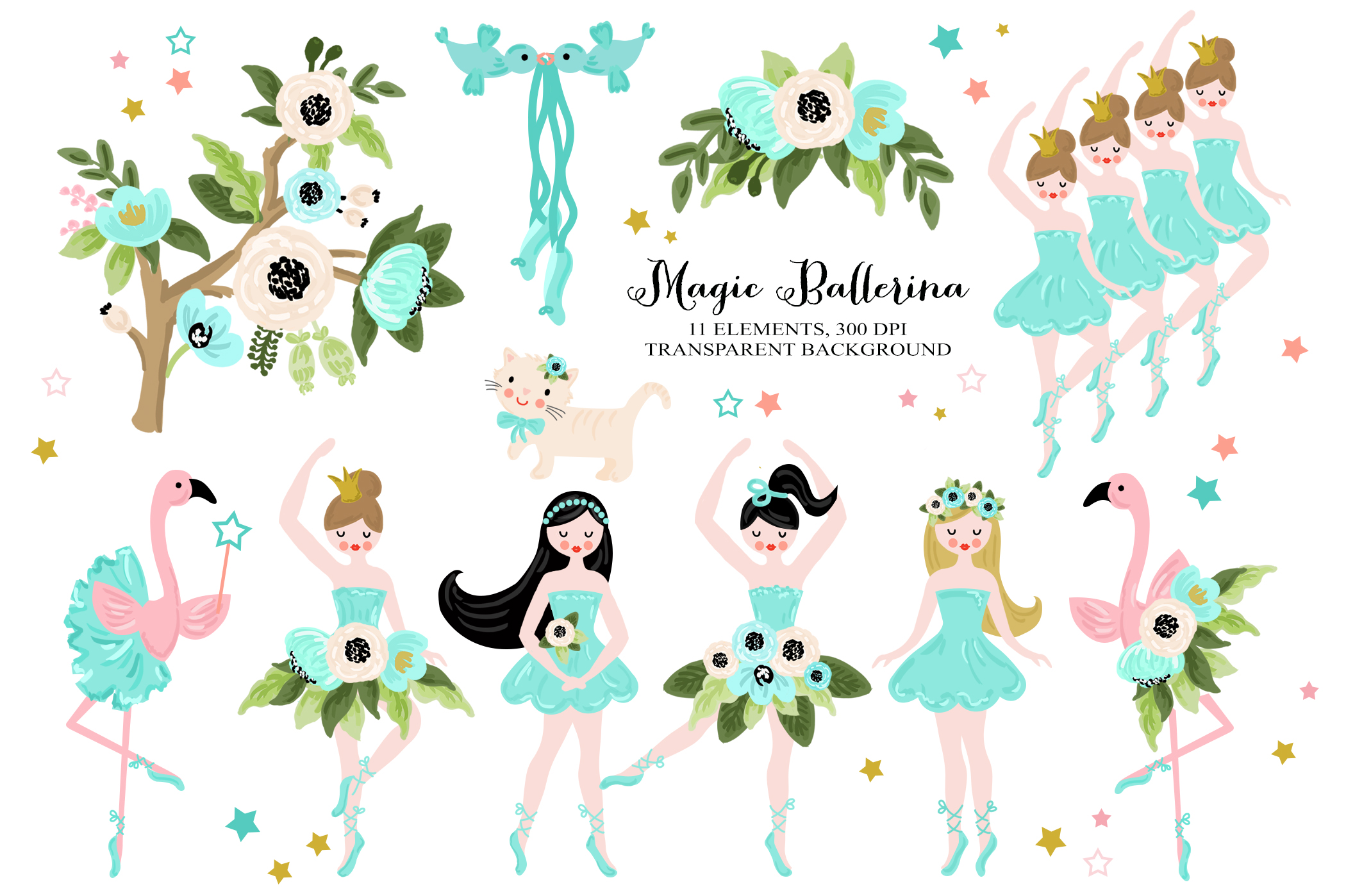 Download Free Magic Ballerina Ballet Dancer Clip Art Graphic By Kabankova for Cricut Explore, Silhouette and other cutting machines.
